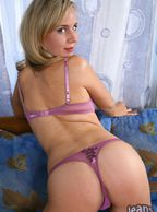 Sexy Blonde Babe Ass In Purple Thong - delicious bottom in thong undie
